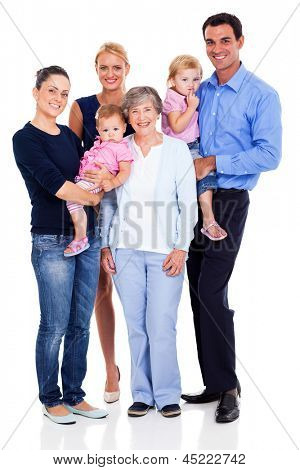 Retrato de familia feliz aislado sobre fondo blanco