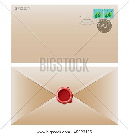 Mail envelope with postal stamp isolated on white background.