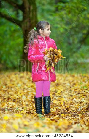 Cute girl playing with autumn fallen leaves in park
