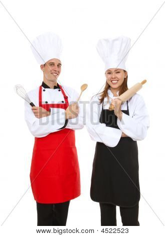Attractive Chefs Isolated