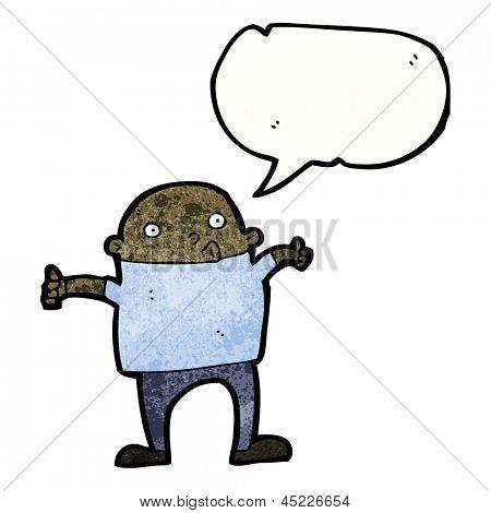 homem dos desenhos animados, dando thumbs up símbolo
