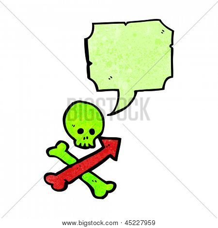 cartoon skull and crossbones with direction arrows