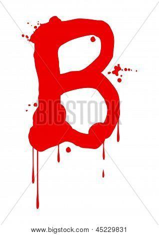 Wet paint font type, letter B
