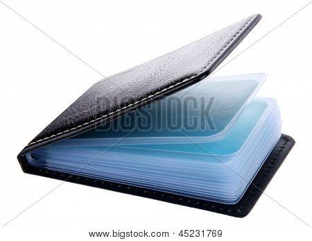 Black business card holder close-up