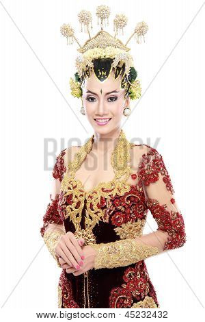Woman Traditional Wedding Dress Of Java