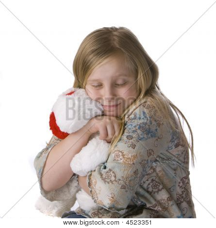 Girl Hugging Stuffed Animal