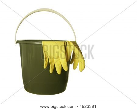 Cleaning Bucket With Rubber Gloves