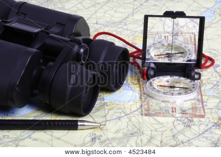 Map,  Binoculars And Compass