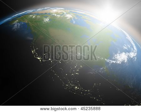 Sunrise Over North America