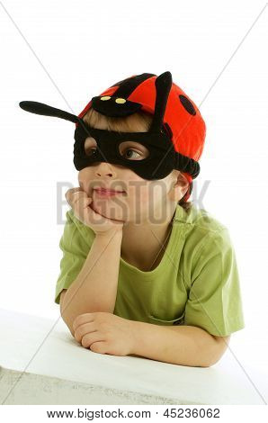 Little Boy In Ladybug Hat