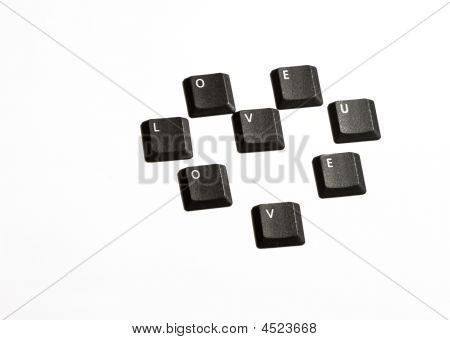 Symbol Heart Made With Buttons Of Keyboard