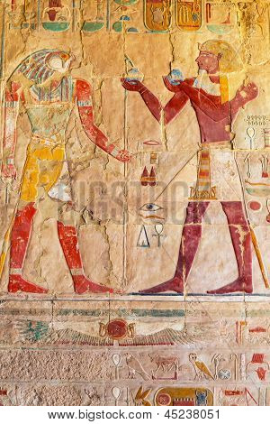Relief on the wall of Queen Hatshepsut Temple in Egypt