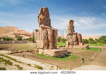The Colossi of Memnon in Luxor, Egypt