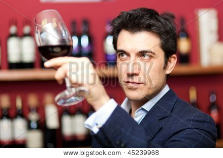 Man analyzing a glass of wine