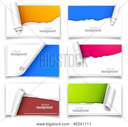 Set of gift cards with torn corners