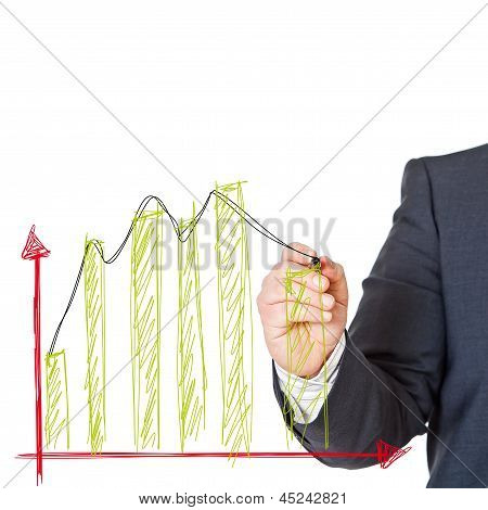 Business Man With Graph