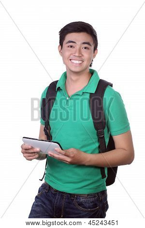 Young Asian student using pad PC isolated on white background.