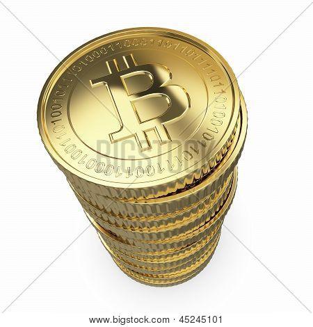 Golden Bitcoins on white