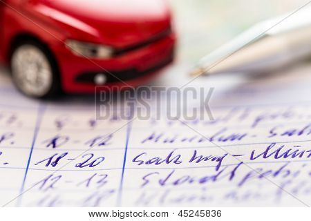 log book for a car. for commuters and tax office.