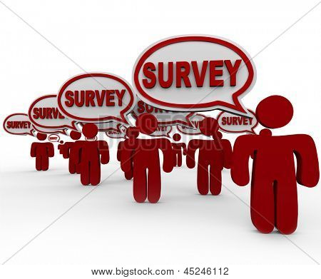 Many people or customers answering your questions with the word Survey in speech bubbles to symbolize feedback, comments and responses to a set of queries