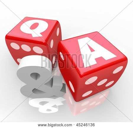 The letters Q & A on red dice to symbolize questions and answers to customer questions or assistance to frequently asked queries
