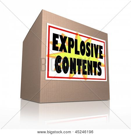 The words Explosive Contents on a cardboard box package to illustrate or warn of the danger of a mail bomb