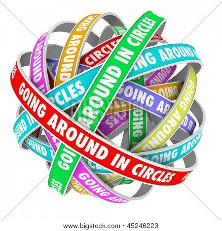 The words Going Around in Circles on colorful ribbons stuck in an endless repetitive circular pattern to illustrate being lost or confused