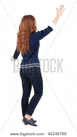 back view of walking  woman . beautiful redhead girl in motion.  backside view of person.  Rear view people collection. Isolated over white background. Girl goes to someone hugging