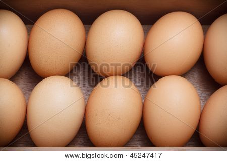 Eggs In The Wood Tray