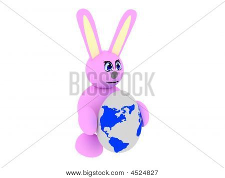 Pink Bunny With An Earth-textured Egg