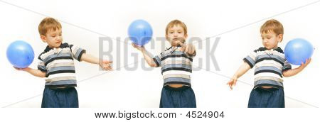 Boy With Blue Balloon Over White