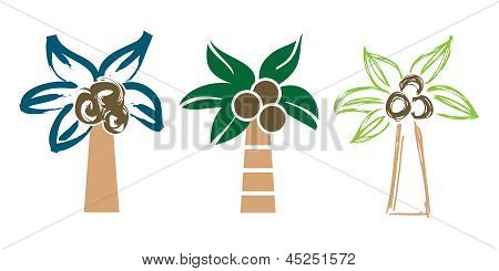 Palm trees in various styles