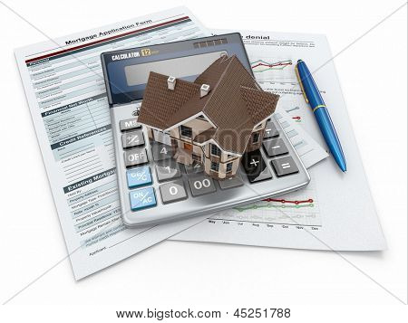 Formulário de pedido de hipoteca com uma calculadora e casa. 3D