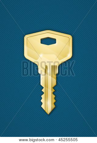 Golden key on blue background. Security concept. Photo-realistic vector illustration