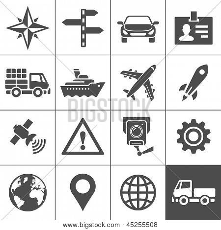 Transportation icons. Vector illustration. Simplus series