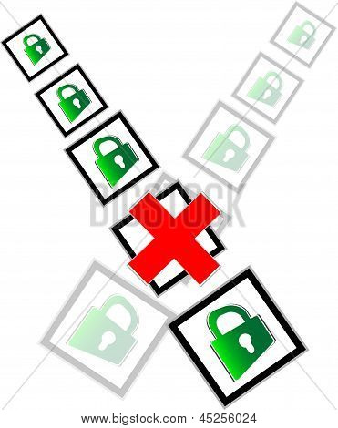 Red Check Box And Green Padlock Set On Check Mark List