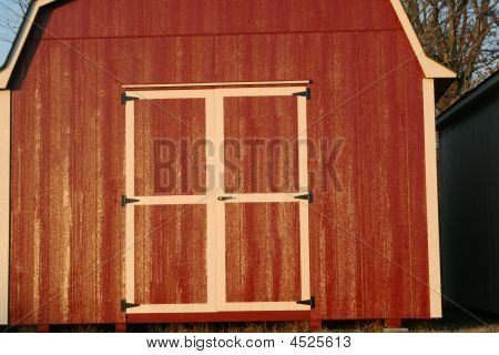 Close Up Red Storage Barn