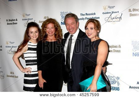 """LOS ANGELES - MAY 6:  Kaitlyn Dever, Nancy Travis, Tim Allen, and Amanda Fuller arrives at the 2013 """"Golden Heart Awards"""" at the Beverly Wilshire Hotel on May 6, 2013 in Beverly Hills, CA"""