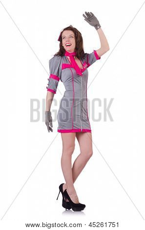 Airhostess isolated on the white background