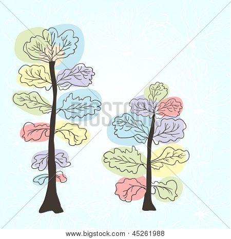 Multicolored trees. Abstract vector illustration.