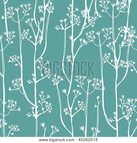 White plants on blue background, seamless pattern