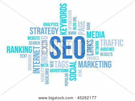 Seo Business, Search Engine Optimazion, Concept Cloud Chart