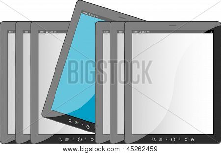 Group Of Tablet Pc On White Isolated Background