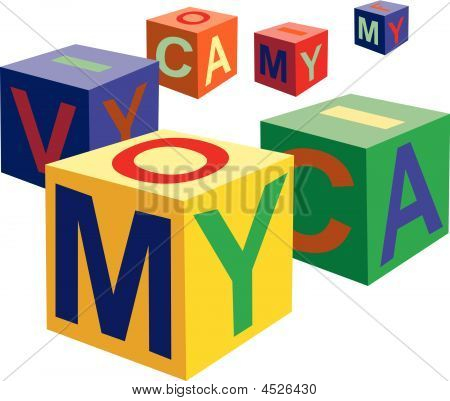 Cube Toy With Letters Vector