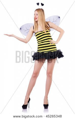Woman in bee costume isolated on white