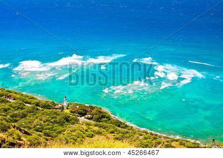 Beautiful Beach of Oahu,Hawaii taken from Diamond Head