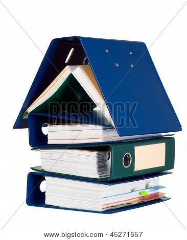 House Shape Made From Many Business Documents