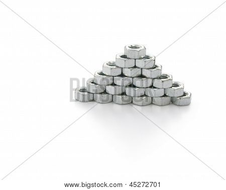 Nuts Stack Up On White With Clipping Path