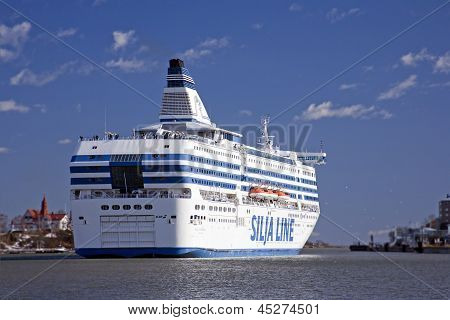 Helsinki,Finland-April 20:the Silja Line ferry sails  from port of Helsinki on April 20, 2013.