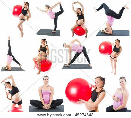 Collage Of Regnant Fitness Two Women Make Stretch On Yoga And Pilates Pose On White Background  The
